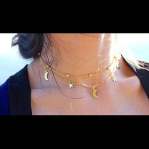 Jewelry - Gold Moon Star Dainty Choker Layered Necklace New